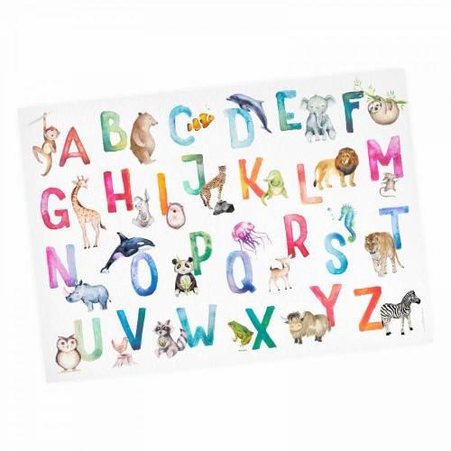 Kinder Lernposter Tier ABC Watercolor - A3/ A2/ A1 *nikima* in 3 verschiedenen Größen Plakat Wanddeko Kinderzimmer