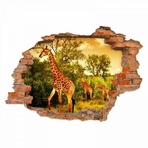 036 Wandtattoo - Loch in der Wand - Giraffe Afrika Savanne Steppe in 6 Größen Kinderzimmer Wanddeko Sticker Aufkleber