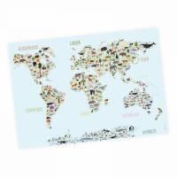 Kinder Lernposter Weltkarte Tiere -A3/ A2/ A1 *nikima* in 3 verschiedenen Größen  Wanddeko Kinderzimmer Bild 1