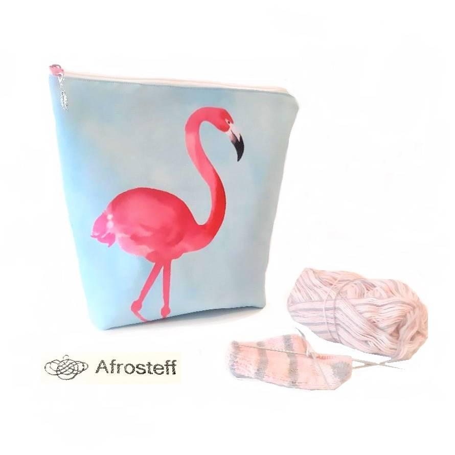 Handarbeitstasche Gr. S, Projekttasche, Sockentasche mit Flamingos und Maschenmarkierer, Strickbeutel, Wolltasche  Bild 1