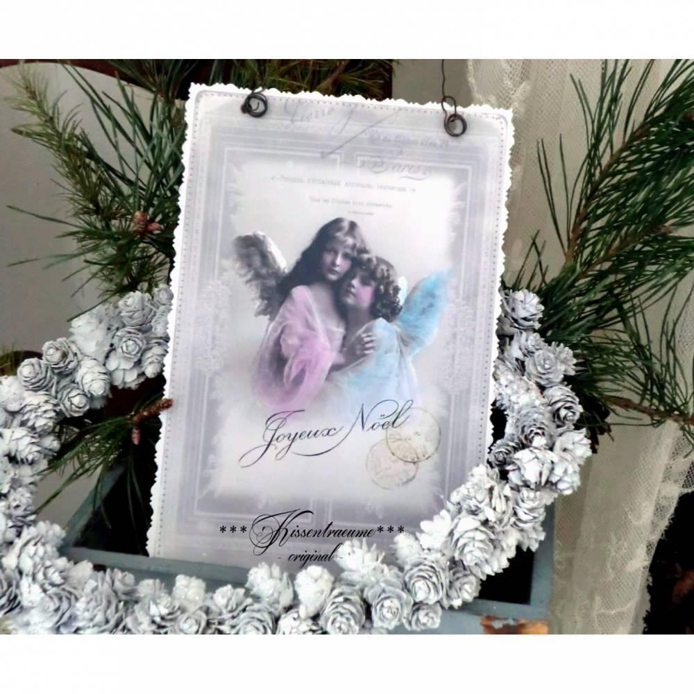 Weihnachten, Türschild, Deko-Schild Engel, Weihnachtsdeko zum hängen in zarten Pastelltönen & Vintage Stil. Bild 1