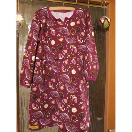 Langarm Bio Jersey Kleid Burgunder Blaubeer Traum Größe 128 Herbst Kleid mit langen Armen