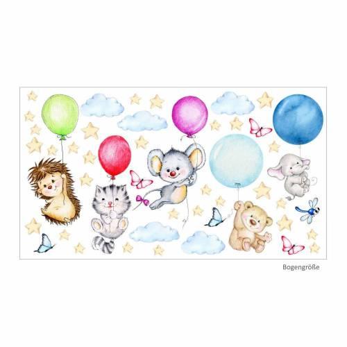 nikima - 123 Wandtattoo Elefant Igel fliegen mit Luftballons niedliche Tiere Buntstiftzeichnung - Kinderzimmer Wanddeko Wandbild
