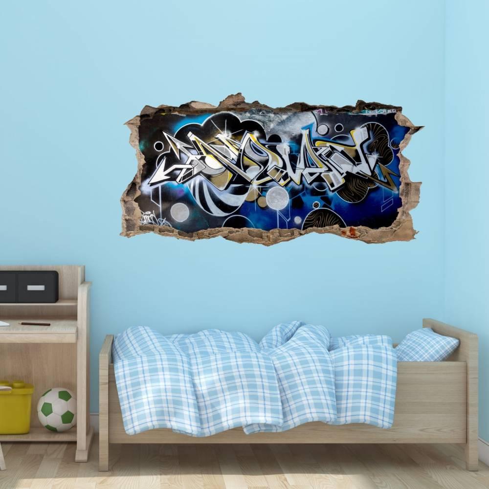 148 Wandtattoo Graffiti Blau Grau Loch In Der Wand