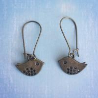 Ohrhänger kleines Vögelchen bronze /// 30% SALE Bild 1