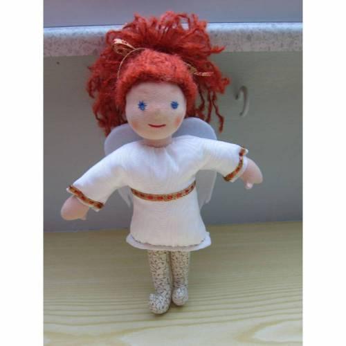 Engels Puppe, Schutzengel Engel Puppe Cecile mit Kastanien Haare in Moiré Taft Kleid, 25cm Weihnachten