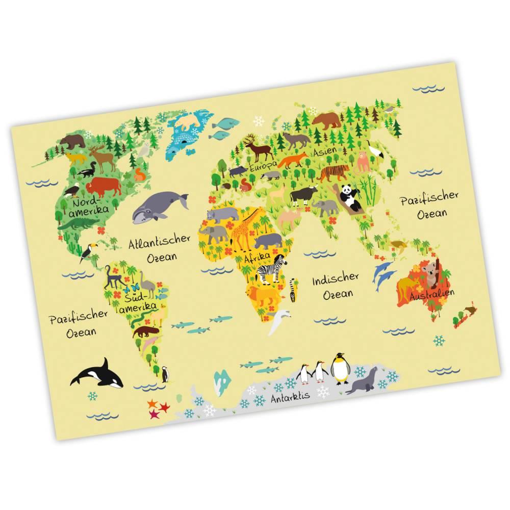 bezaubernde Kinder Weltkarte Gelb A3/ A2/ A1 *nikima* in 3 verschiedenen Größen Kontinente Amerika, Europa, Afrika, Tiere, Orca Bild 1