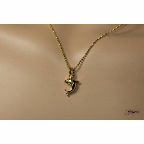 Delfin an facettierter vergoldeter 925er Kugelkette