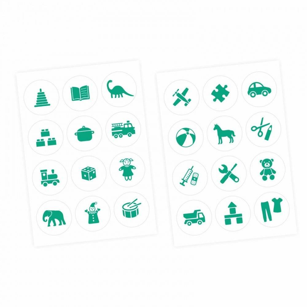 Möbelaufkleber Ordnungssticker für Spielzeug MINT/ WEISS Kinderzimmer Aufbewahrung Spielsachen Bild 1