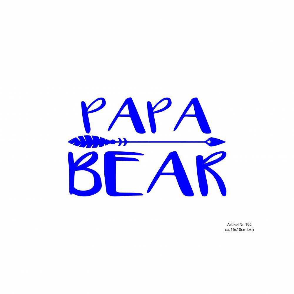 Bügelbild Papa Bear mit Pfeil in Wunschfarbe Bild 1