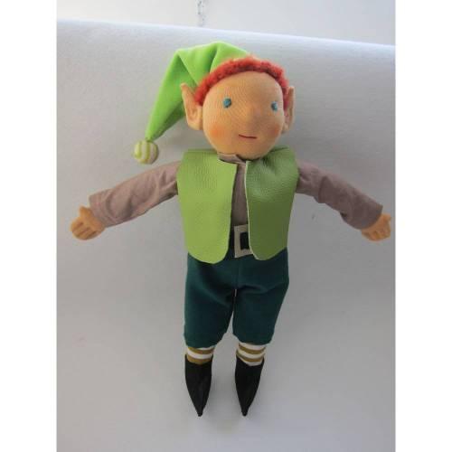 """Schelm Puppe """"Strubel"""" Gnom, Zwerg, Original handgenäht, 33cm Waldorf stil, Buben Puppe, Sammler Puppe, Wuschelkopf, Made to order"""