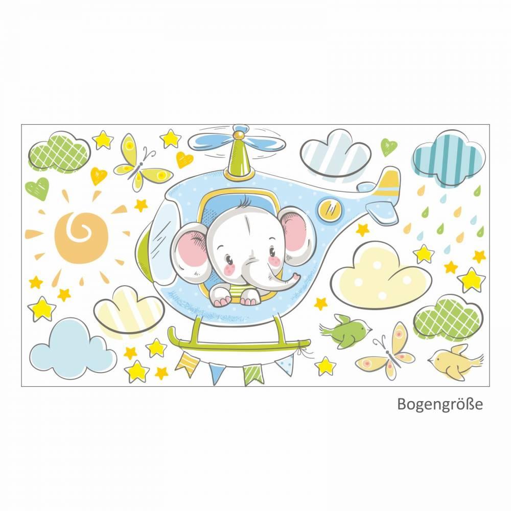 029 Wandtattoo Elefant auf Hubschrauber hellblau Bild 1