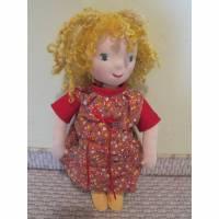Goldenen Lockenkopf Puppe, Cecilia, Waldorf stil, Stoff Puppe, 33cm, Spielpuppe, Mädchen Puppe, present, Geburtstag, Schulanfang Bild 1