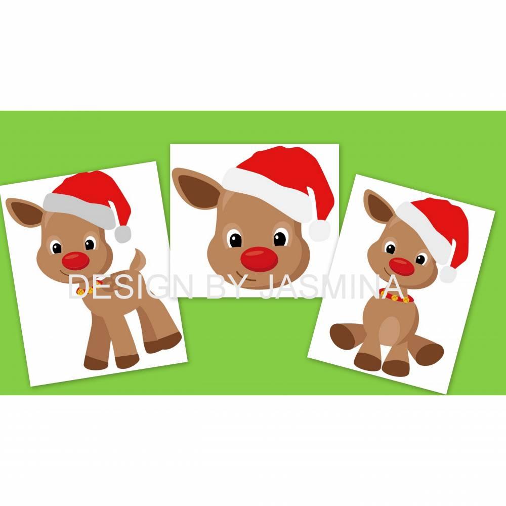 """Plotterdatei Weihnachten """" Rentier Hirsch / Christmas Stern / SVG Bild 1"""