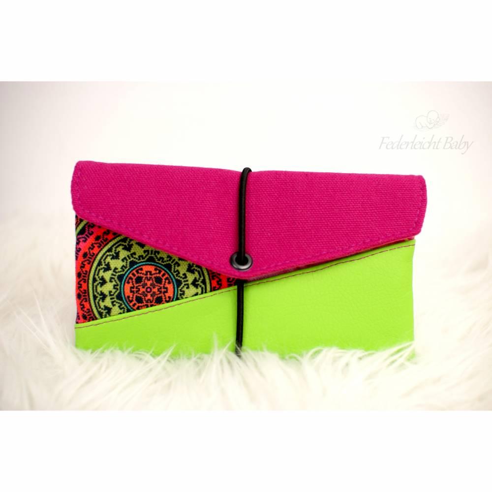 Farbenfrohe Smartphone-Tasche Mini-Geldbeutel in grün und pink Bild 1