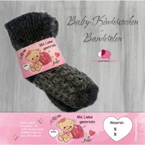 6 Baby - Sockenbanderolen: Mit Liebe gestrickt - rosa Teddy - personalisierbar   mit transparente Klebepunkte
