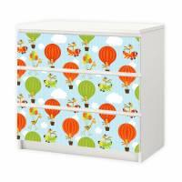 012 Möbelfolie für IKEA MALM - Giraffe Ballon - 3 Schubladen Sticker Klebefolie (Möbel nicht inklusive) Bild 1