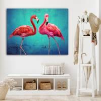 Pink Flamingos Collage Leinwandbild Vintage Style Kunst Druck Türkis smaragd grün Gicleedruck, Fotogemälde Bilder  Bild 1