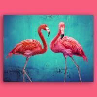 Pink Flamingos Collage Leinwandbild Vintage Style Kunst Druck Türkis smaragd grün Gicleedruck, Fotogemälde Bilder  Bild 2