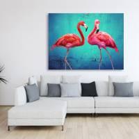 Pink Flamingos Collage Leinwandbild Vintage Style Kunst Druck Türkis smaragd grün Gicleedruck, Fotogemälde Bilder  Bild 3
