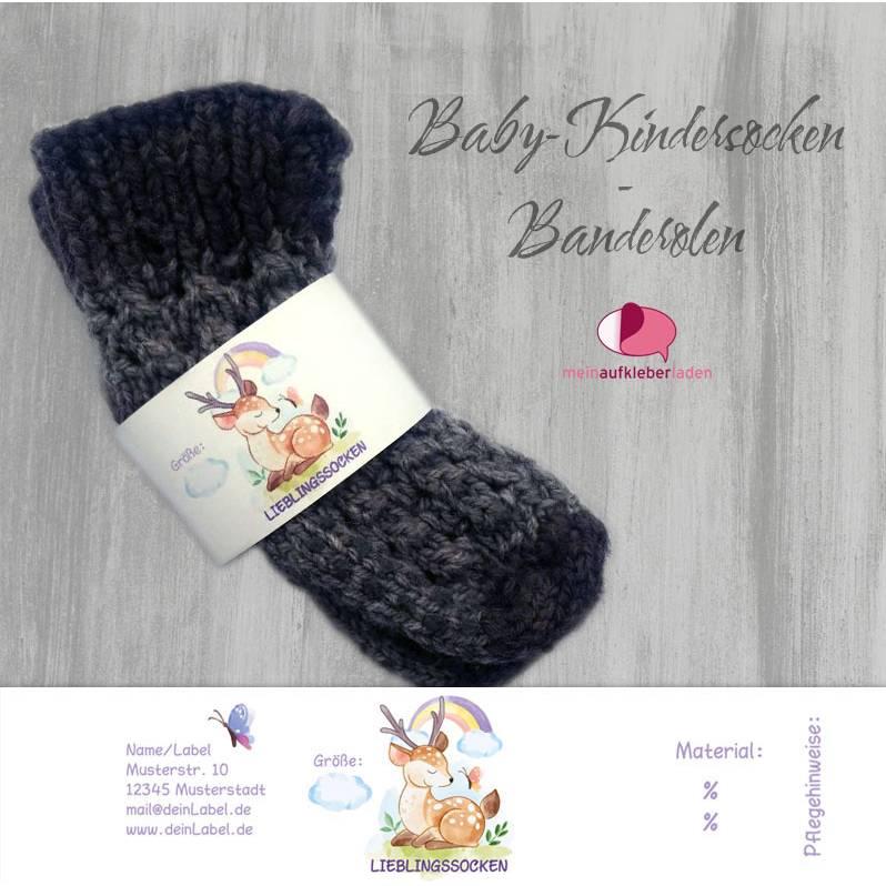 6 Baby - Sockenbanderolen: Lieblingssocken - Hirsch lila - personalisierbar   mit transparente Klebepunkte Bild 1