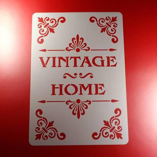 Schablone Vintage Home Schriftzug Ornament - BS01