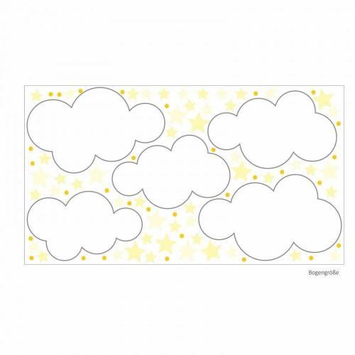 140 Wandtattoo Wolken, Sterne und Punkte Set gelb weiß - 87 Stück - in 6 vers. Größen - süße Baby Kinderzimmer Wanddeko Aufkleber Sticker