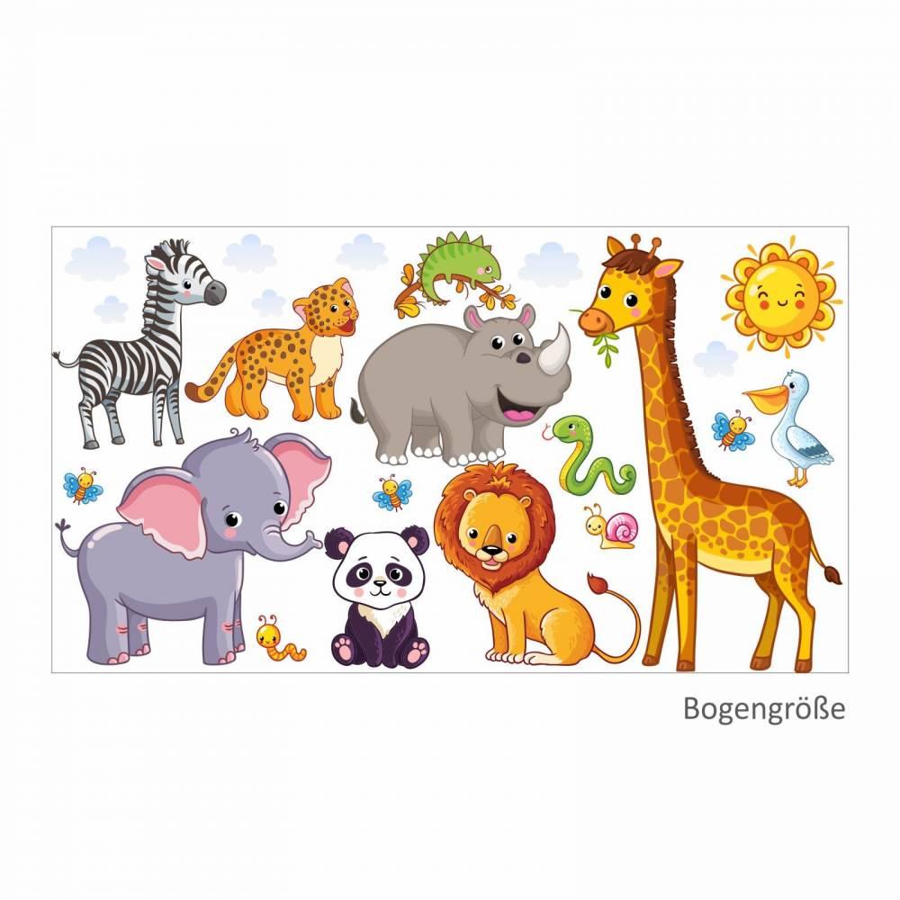 080 Wandtattoo Tiere Kinderzimmer Elefant Lowe Giraffe