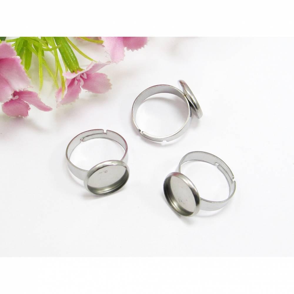 Edelstahl Ring-Rohlinge mit Fassung für 12mm Cabochons Bild 1