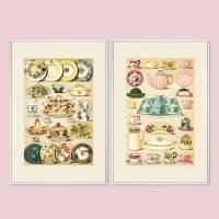 2-er Set Poster 30x45, Vintage, Bilder für die Küche, Drucke, Wanddekoration, Pastell, Kunst, Print, hellgelb, mint, rosa Bild 1