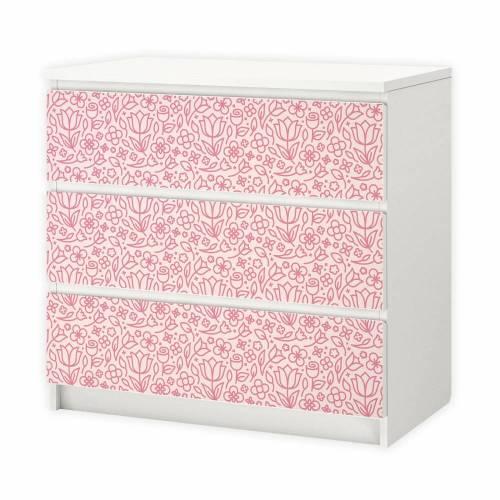 002 Möbelfolie für IKEA MALM - Blumen rosa - 3 Schubladen Aufkleber Sticker Klebefolie (Möbel nicht inklusive)