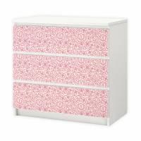 002 Möbelfolie für IKEA MALM - Blumen rosa - 3 Schubladen Aufkleber Sticker Klebefolie (Möbel nicht inklusive) Bild 1