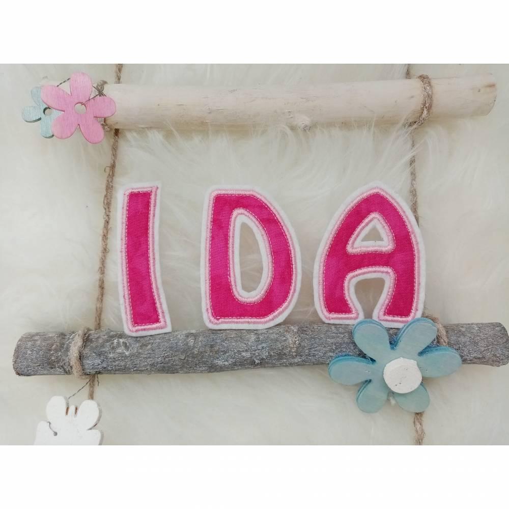 """Buchstaben Aufnäher """"IDA"""", 7cm hoch Bild 1"""