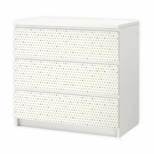 003 Möbelfolie für IKEA MALM - Anker - 3 Schubladen Aufkleber Sticker Klebefolie (Möbel nicht inklusive)