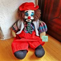 Vintage Porzellanpuppe Clown, Traveller, ca. 20 cm, Dekoration, Geschenk Bild 1