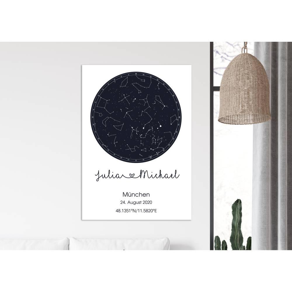 Personalisierte Sternenkarte, Sternenhimmel Leinwanddruck Bild 1
