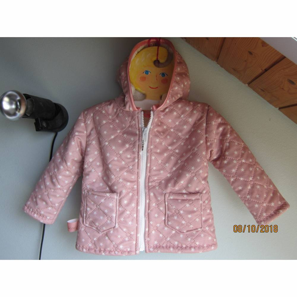 Baby öko Stepp-Jacket rosa mit Sterne und Kapuze in grösse 86-92 Baby Winter Jacke mit Alpine Fleece Bild 1