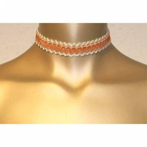 Halsband Oktoberfest Halsband Choker Dirndl Halsband Borte Halsband Spitze Geschenk Vintage crem orange 33 cm lang