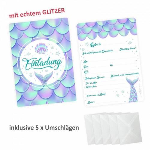 5 Einladungskarten Meerjungfrau mit GLITZER inkl. 5 transparenten Briefumschlägen Kindergeburtstag Einladung Mädchen
