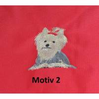 Tasche, kleiner Koffer, bestickt mit Yorkshire-Terrier, div. Motive wählbar Bild 1