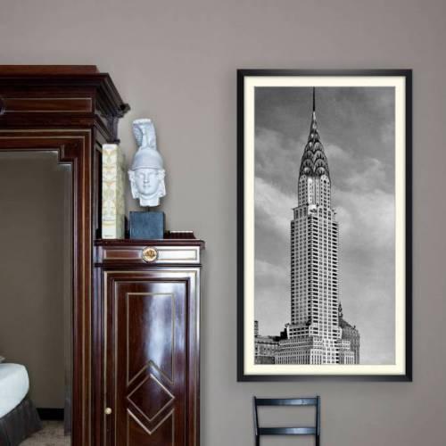 New York Chrysler Building Anno 1930  Kunstdruck gerahmt 49 x 88 cm schwarz weiss Fotografie Vintage Art Fotokunst Art Deco Architektur Kunst
