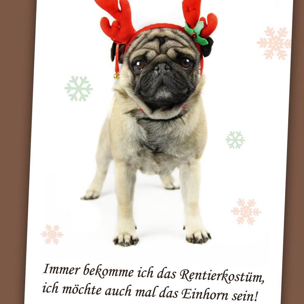 """3 Postkarten """"Weihnachtsmops""""  Bild 1"""
