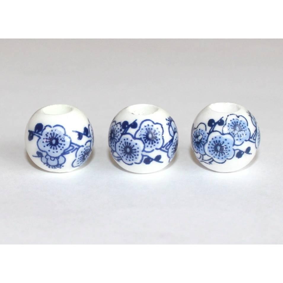 5 Großlochperlen aus Porzellan 15 x 14 mm weiß blau Dekore Blumen ca 5,4 mm Loch Charms Beads Bild 1