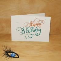 "[2019-0600] Klappkarte ""Happy Birthday / Geburtstag"" - handgeschrieben Bild 1"