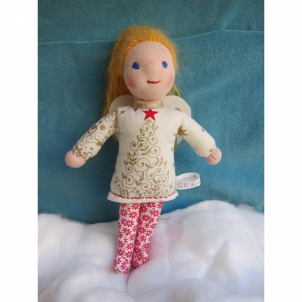Schutzengel Puppe, Celestine, Weihnachts Botin, Weihnachts Puppe, Handgenäht,  24 cm Sammler Puppe, Taufe, Weihnachten present, Geburtstag Bild 1