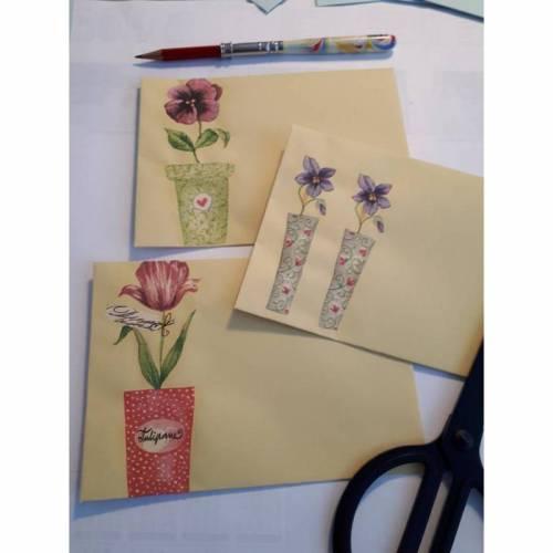 """3 Briefumschläge """" Zarte Blumen """" ... in vanillegelb ..."""