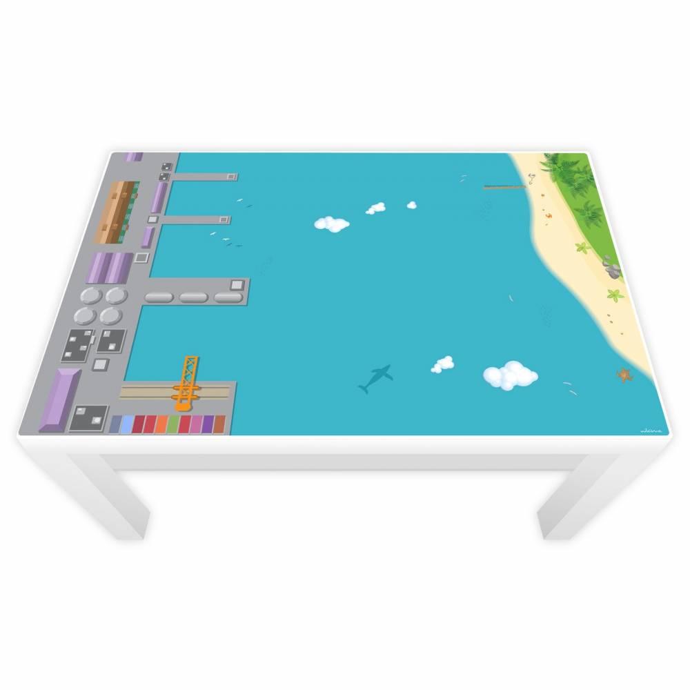 Spielfolie für LACK Tisch groß Hafen & Insel Bild 1