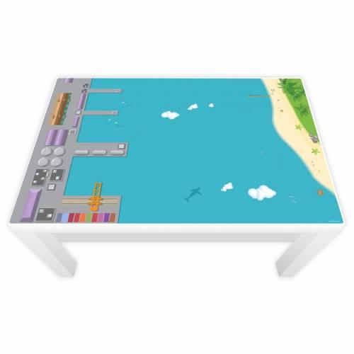 Spielfolie für LACK Tisch groß Hafen & Insel