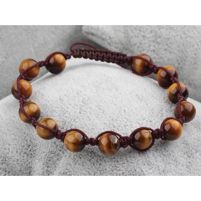 Edelstein-Armband Tigerauge Makramee geknüpft Perlen Bild 1