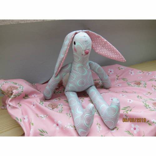 Easter bunny, Floppy  13in, Easter decoration, Stuffed animal, Patchwork